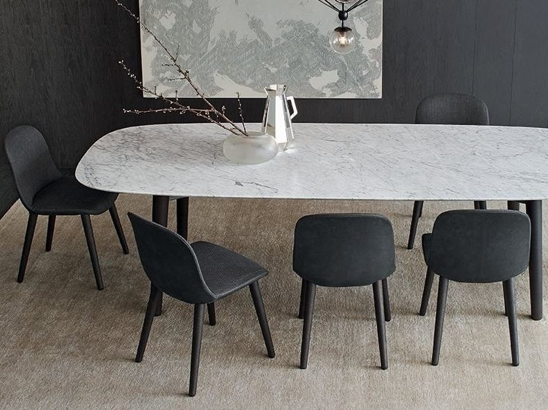 Upholstered fabric chair MAD DINING CHAIR by poliform