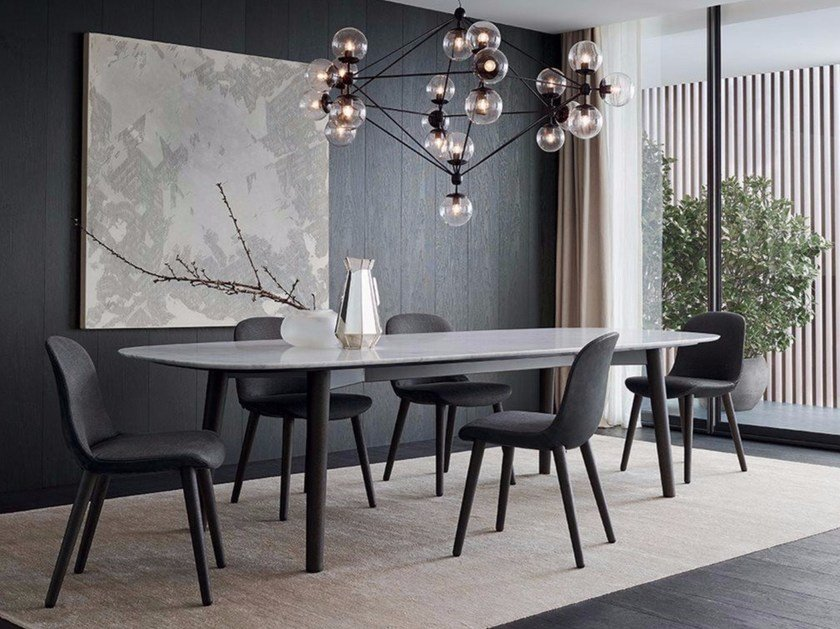 Rectangular marble table MAD DINING TABLE by poliform