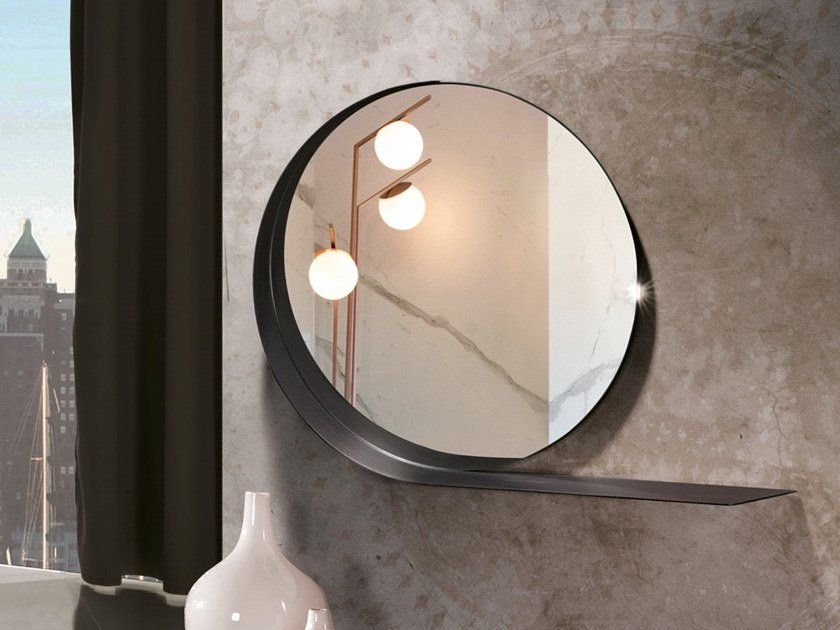 Round wall-mounted painted metal mirror with shelf MADAME by RIFLESSI