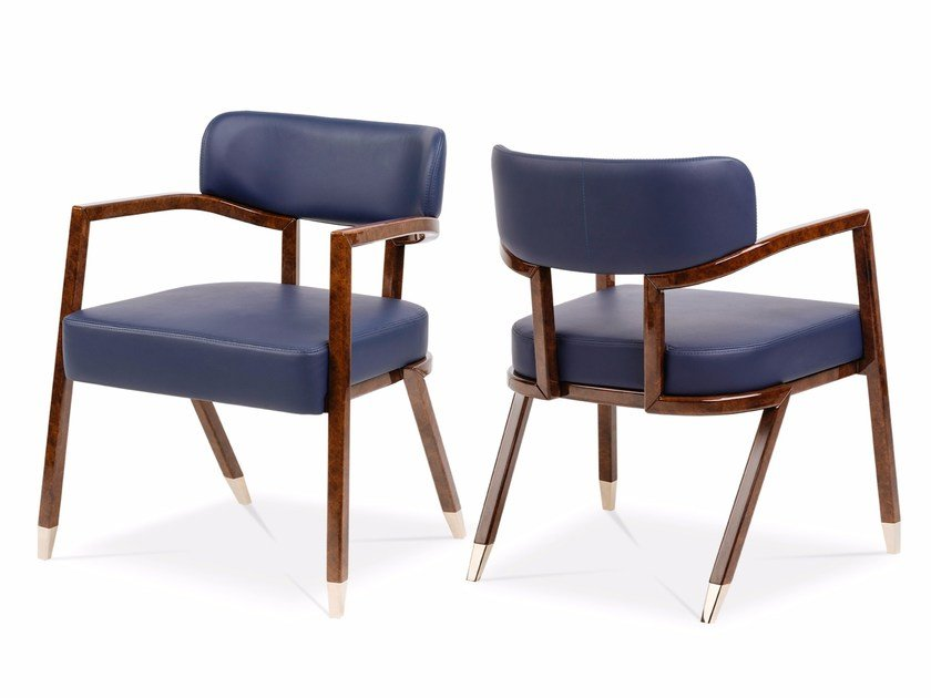 Upholstered leather chair with armrests MADISON | Chair by Turri