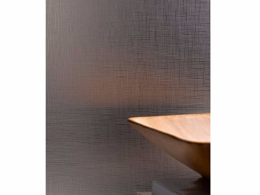 Silvered patterned glass for interior finishing MADRAS® LINO SILVER by Vitrealspecchi