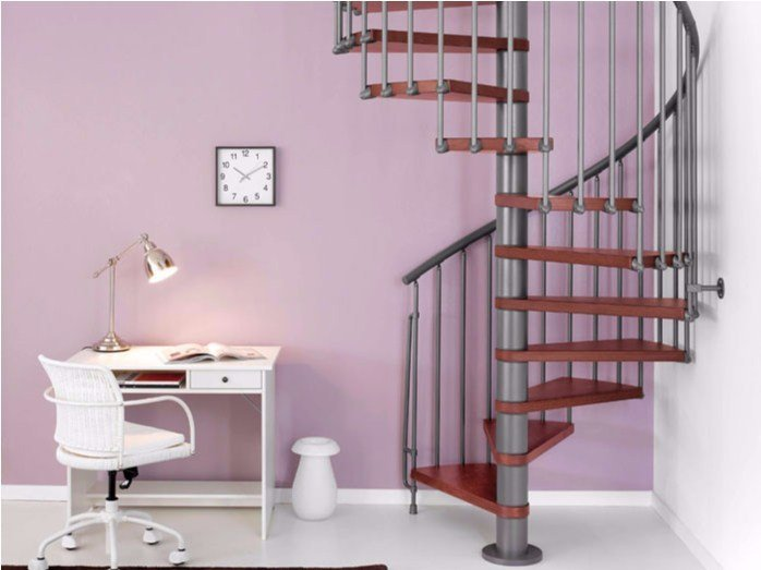 Steel and wood Spiral staircase MAGIA 70 by Fontanot