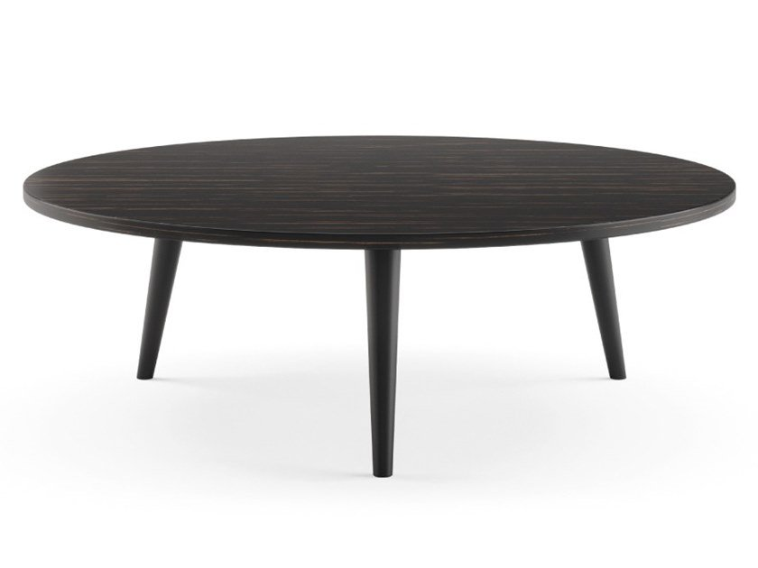 Contemporary Style Low Round Wooden Coffee Table For Living Room