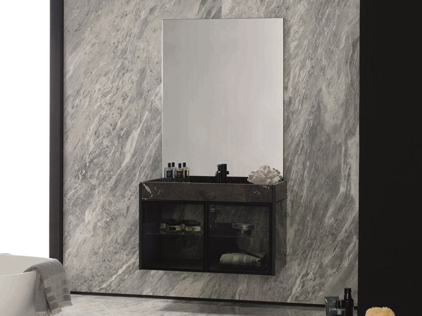 Wall-mounted vanity unit with mirror MAGMA by GAMADECOR