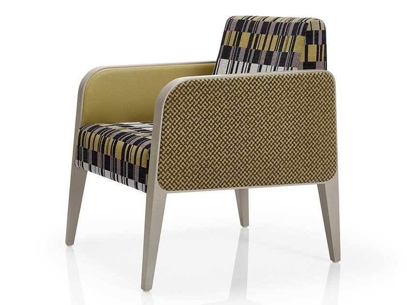 Fabric easy chair with armrests MAGNA | Fabric easy chair by JMS
