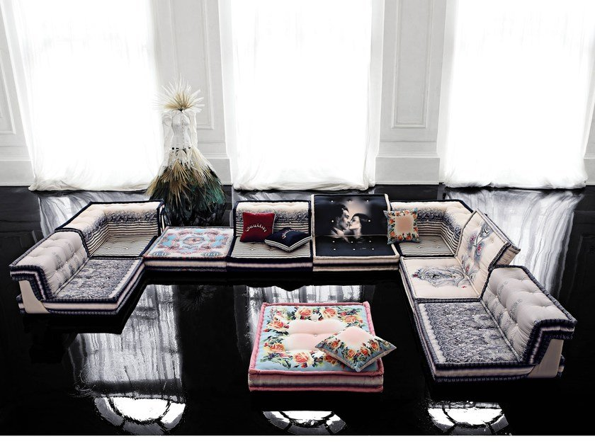 modular fabric sofa mah jong couture by roche bobois design hans hopfer. Black Bedroom Furniture Sets. Home Design Ideas