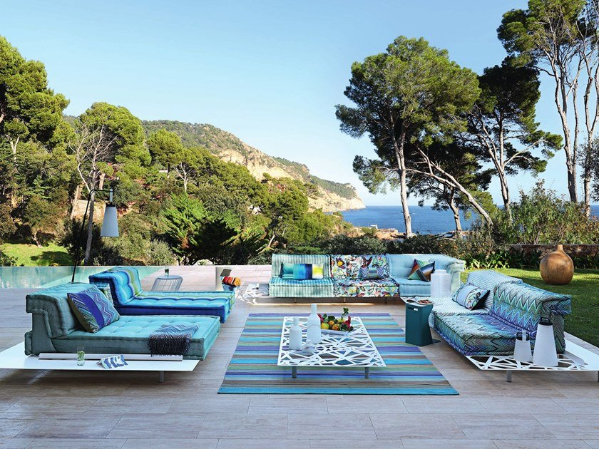 Outdoor sectional modular sofa MAH JONG OUTDOOR by ROCHE BOBOIS