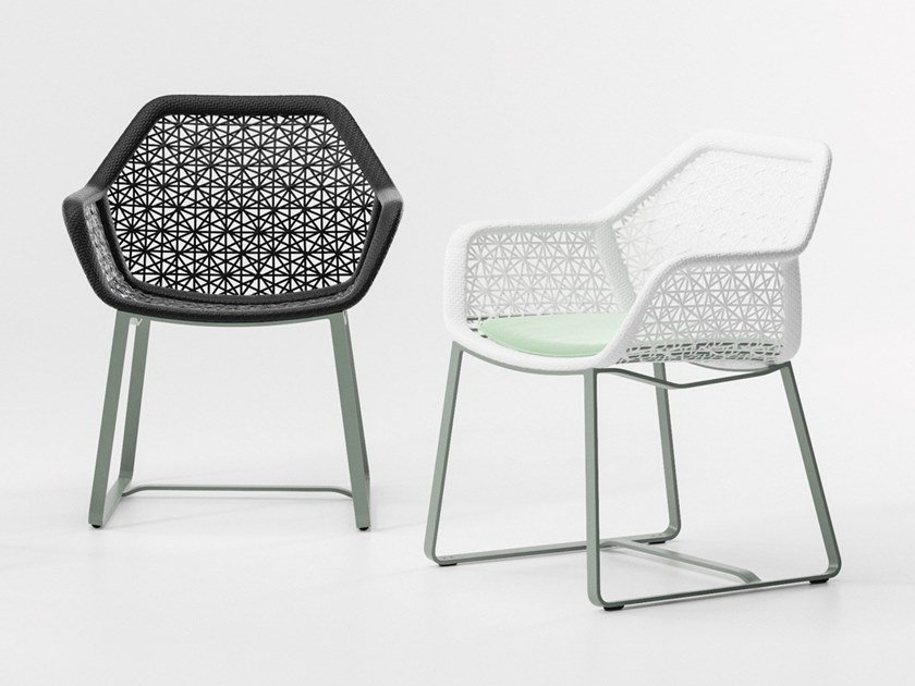 Sled base synthetic fibre garden chair MAIA | Chair by Kettal