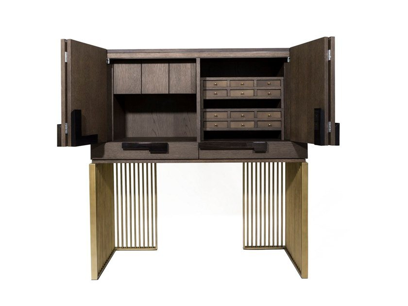Wooden highboard with drawers MAINTENON by HUGUES CHEVALIER
