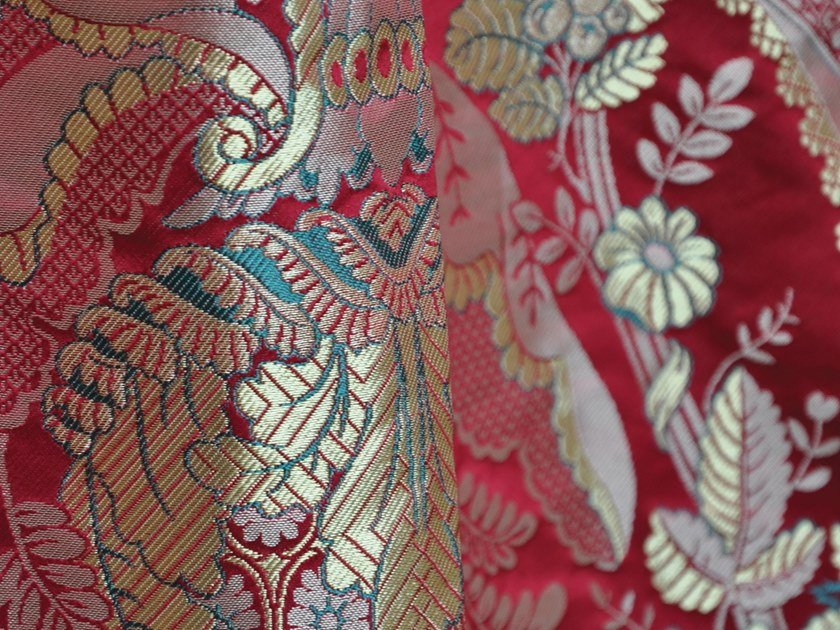 Damask fabric with floral pattern MAINTENON by LELIEVRE