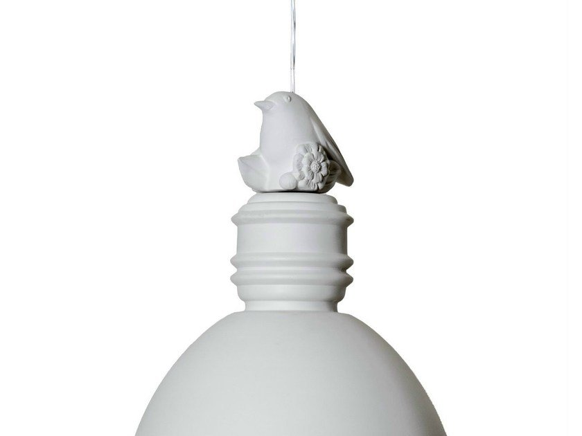 White-paste decoration for pendant lamp, little bird shaped MAIO by Karman