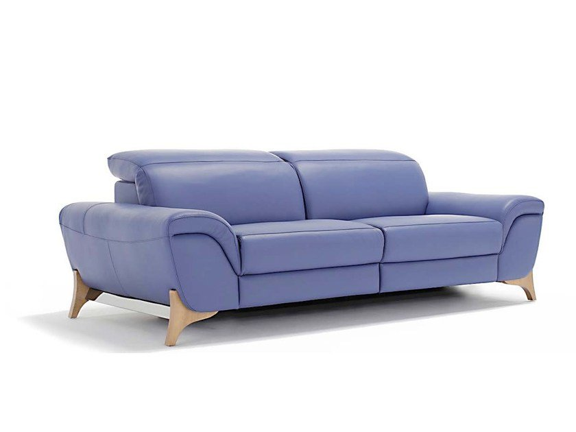 3 seater leather sofa with headrest MAISIE by Egoitaliano