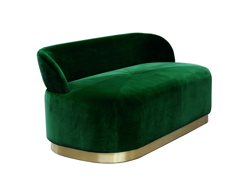Upholstered velvet bench with back MAJESTIC | Bench by Moanne