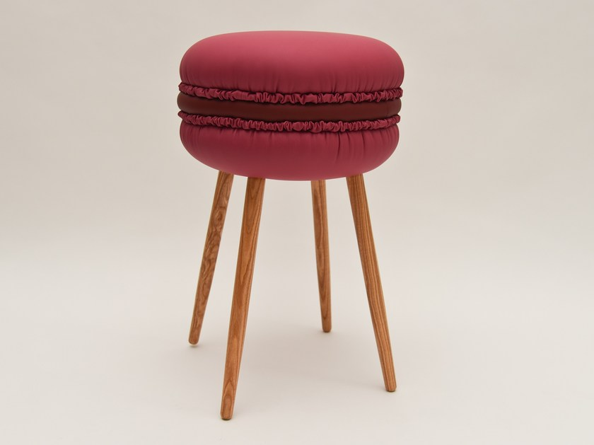 Low upholstered imitation leather stool MAKASTOOL CHERRY S by LI VING