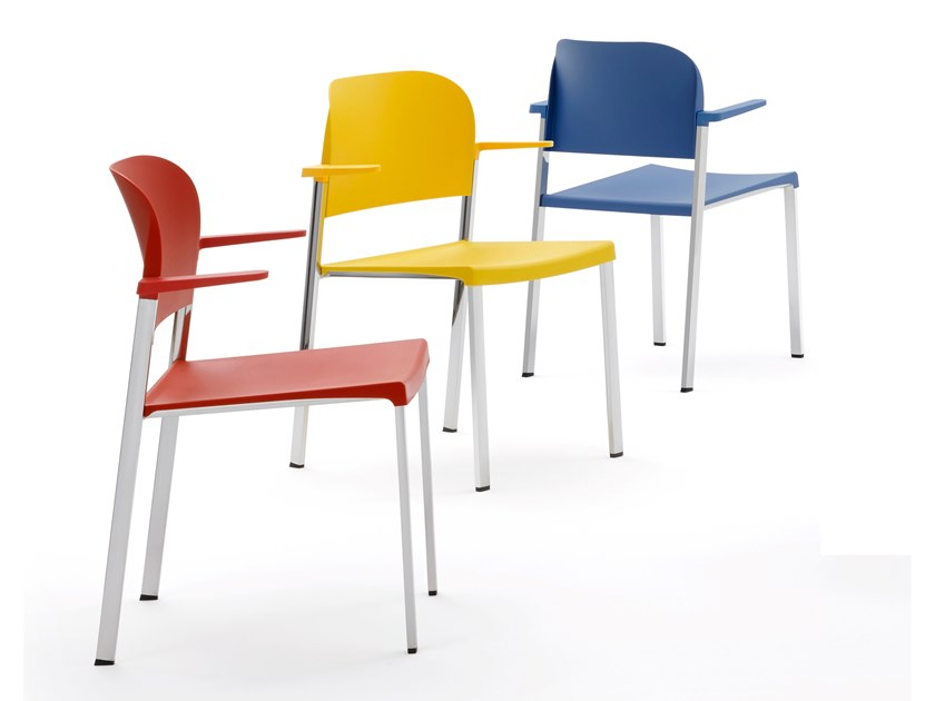Metal and recycled polypropylene armchair MAKEUP | Chair with armrests by Diemmebi