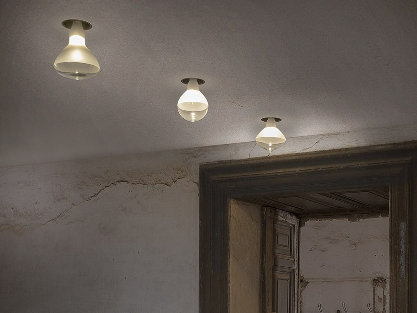 LED satin glass ceiling lamp MAKEUP | Ceiling lamp by Karman