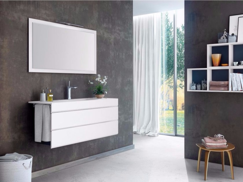 Contemporary style single wood-product vanity unit with drawers with mirror MAKING LISO P/26 by Fiora
