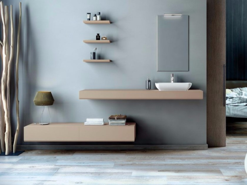Contemporary style single wood-product vanity unit with drawers with mirror MAKING LISO P/30 by Fiora