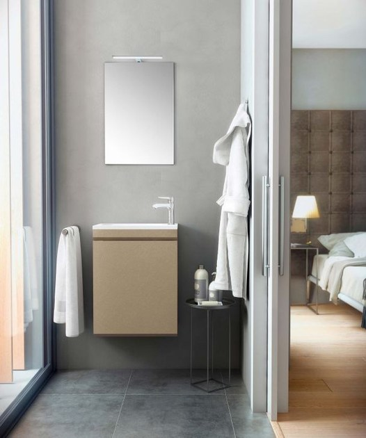 Mobile lavabo sospeso in MDF con ante e con specchio MAKING MINI P/37 by Fiora