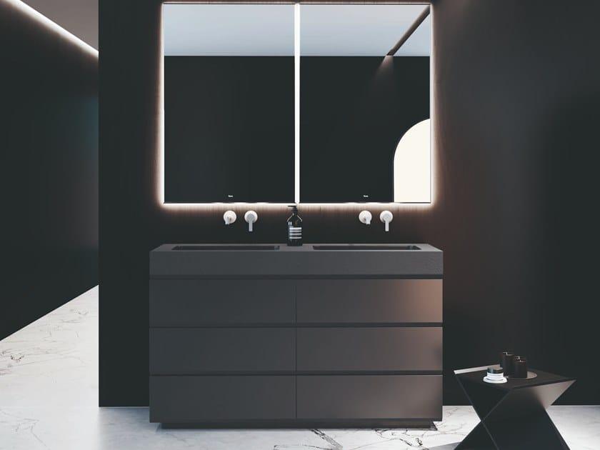 Mobile lavabo da terra in poliuretano con cassetti MAKING | Mobile lavabo by Fiora