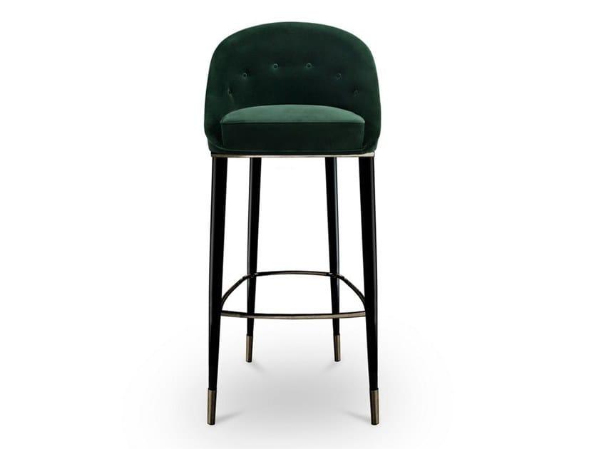 High upholstered velvet stool with back MALAY | High stool by BRABBU