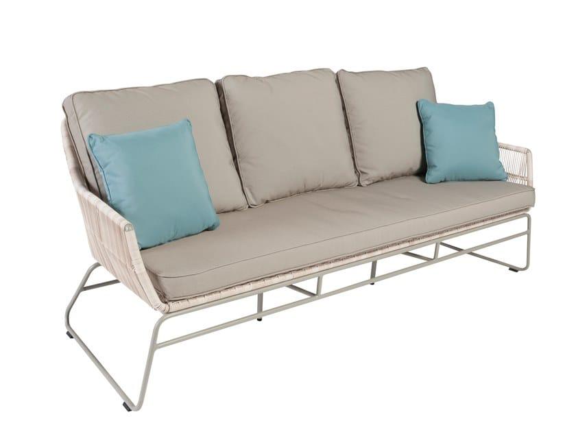 3 seater sled base garden sofa MALDIVES   3 seater garden sofa by Kok Maison