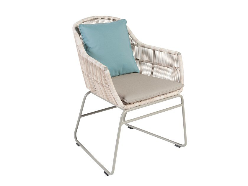 Sled base garden chair with armrests MALDIVES | Sled base chair by Kok Maison