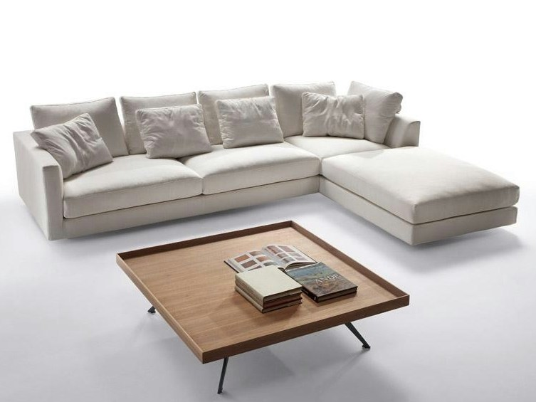 Fabric sofa with chaise longue MALIBU