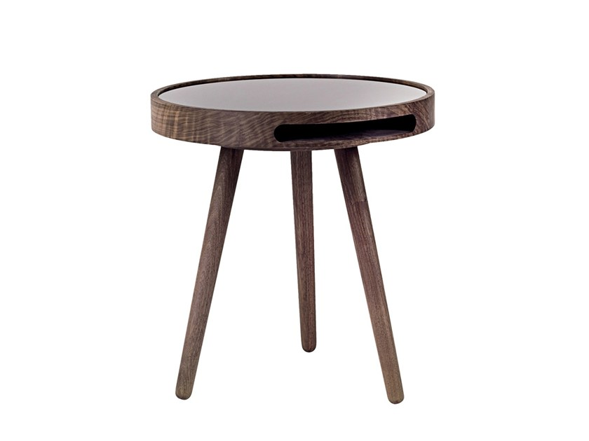 Round Wood And Glass Side Table MALIN | Wood And Glass Coffee Table By Woak