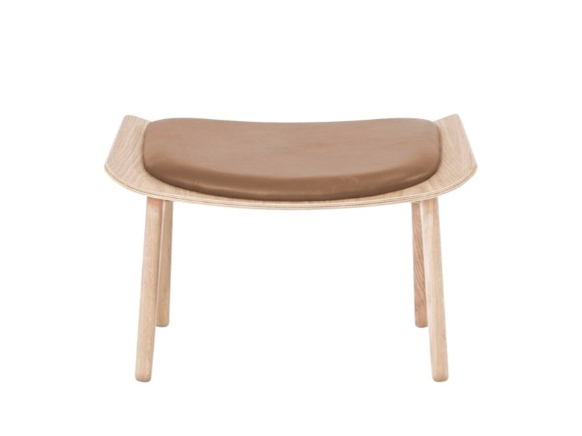 Wooden and leather footstool MAMMOTH SLIM | Footstool by NORR11