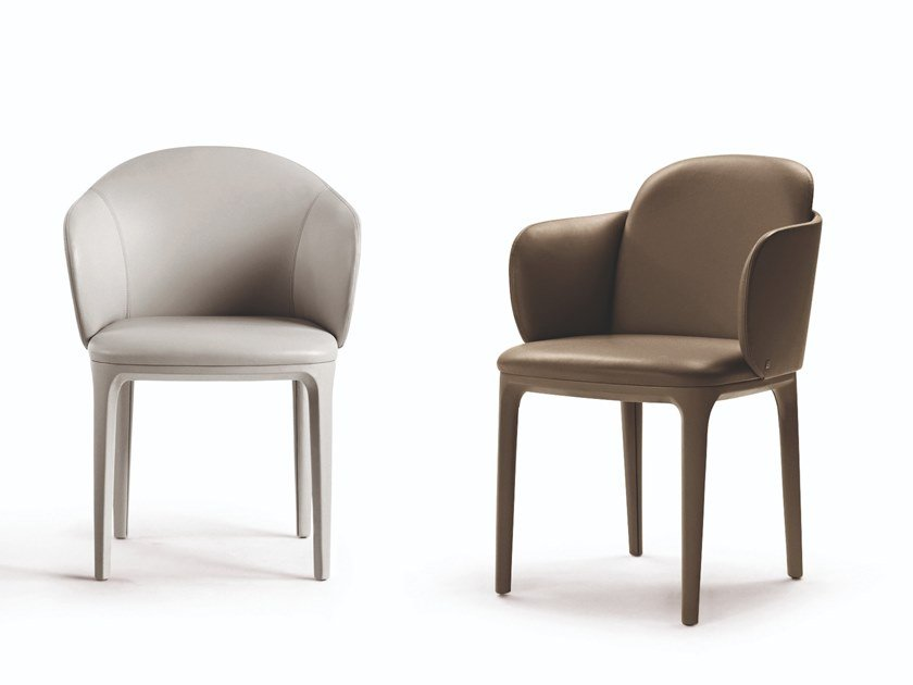 Upholstered leather chair with armrests MANDA PLUS by Busnelli