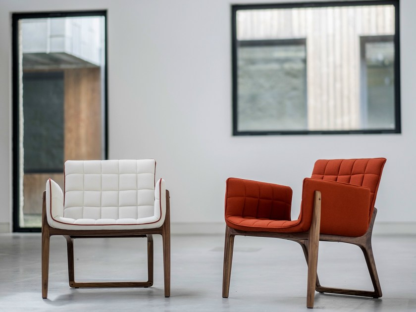 Upholstered fabric easy chair with armrests MANDARINE | Easy chair by Two Six