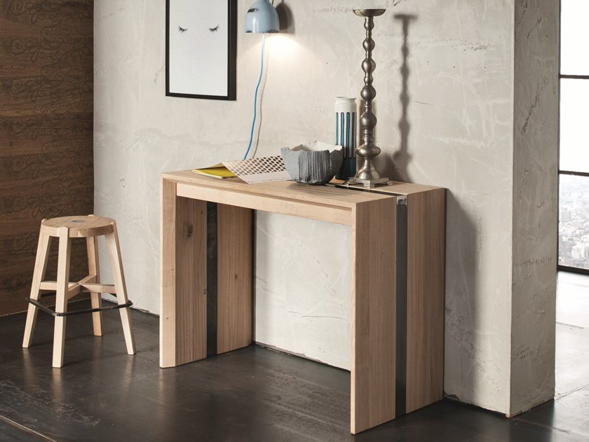 Extending rectangular solid wood console table MANHATTAN by AltaCorte