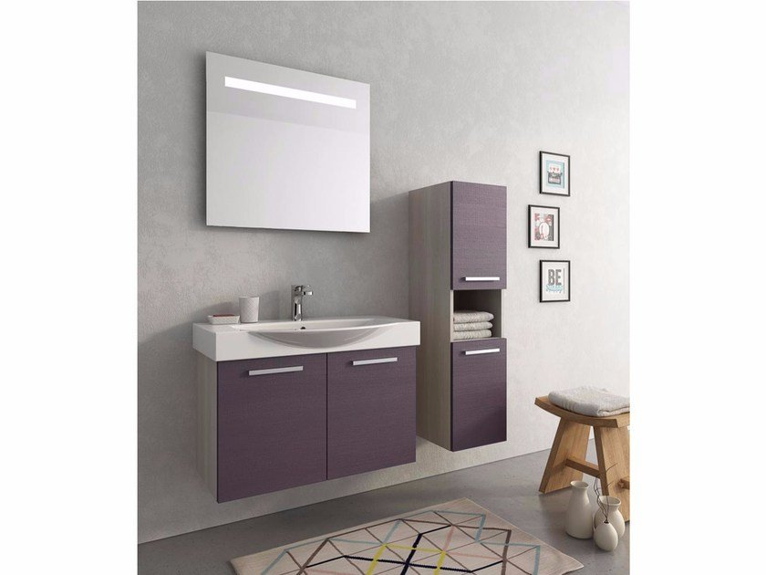 Wall-mounted vanity unit with doors MANHATTAN M7 by LEGNOBAGNO