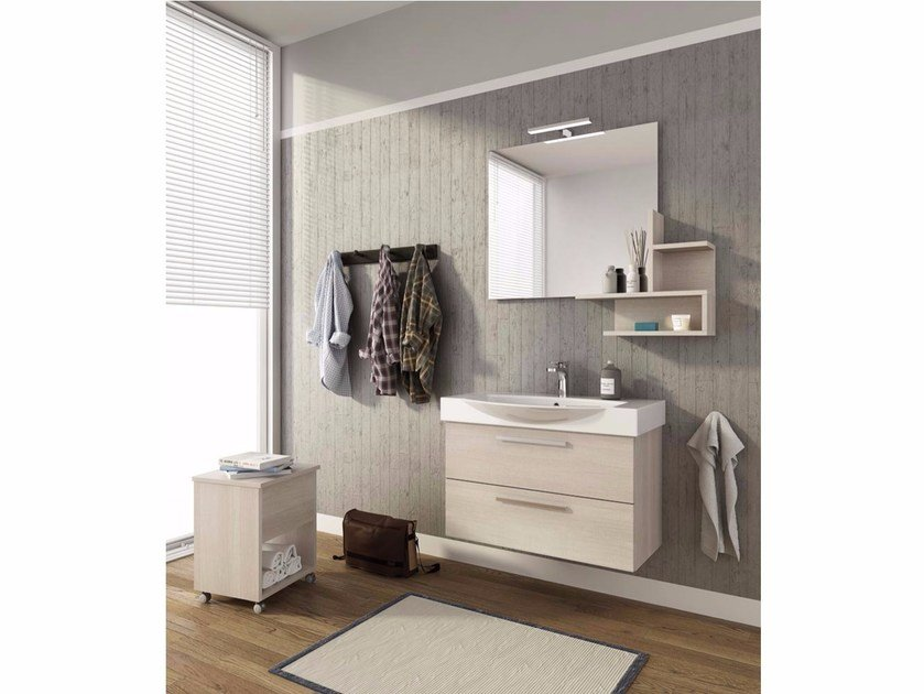 Wall-mounted vanity unit with drawers MANHATTAN M8 by LEGNOBAGNO