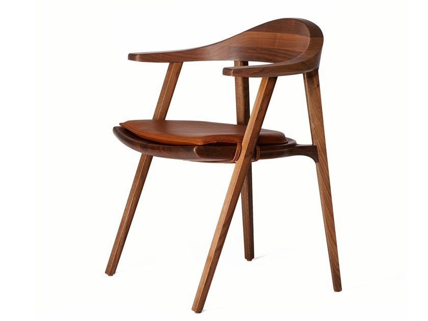 Solid wood chair with armrests MANTIS | Chair by BassamFellows