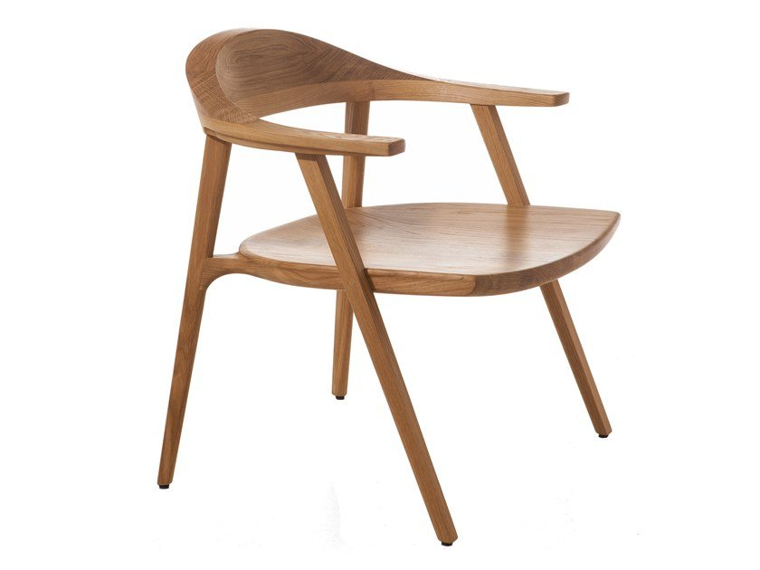 Solid wood easy chair with armrests MANTIS | Easy chair by BassamFellows