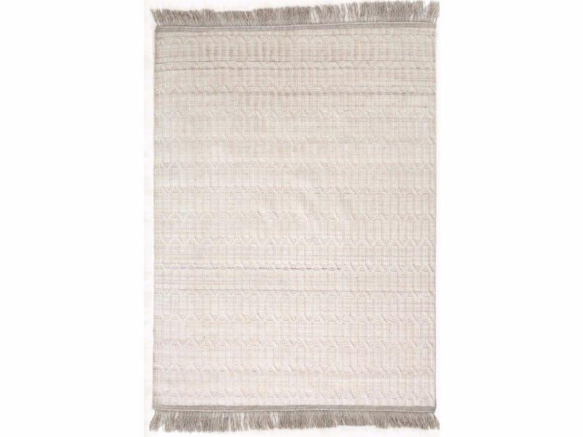 Patterned handmade rectangular wool rug MANTRA by Warli