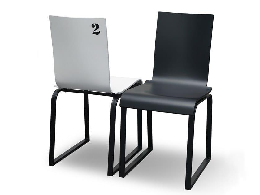 Sled base beech chair MANU 00 by Manganèse Éditions