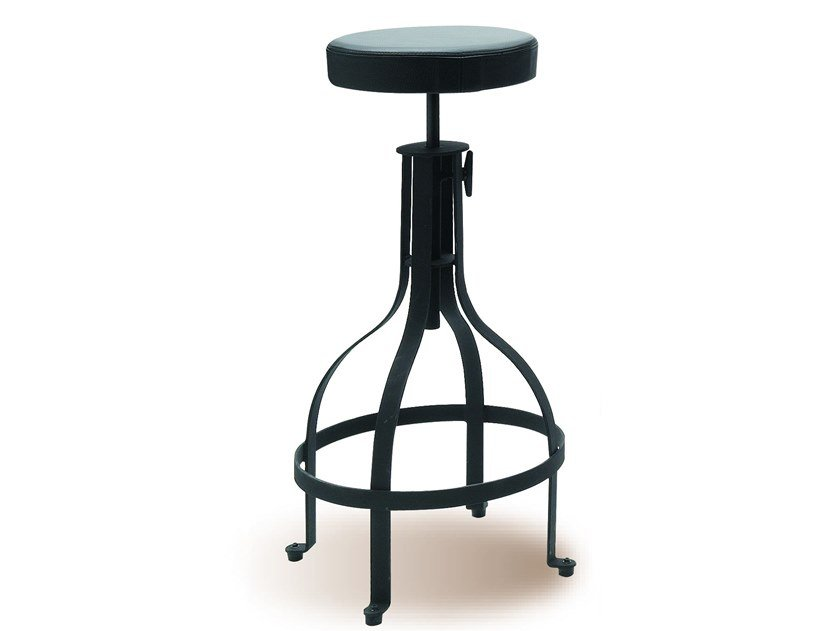 Height-adjustable stool with integrated cushion MANU 04 by Manganèse Éditions