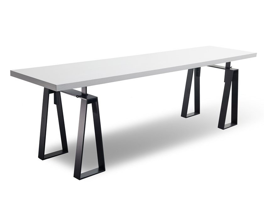 Rectangular wood veneer table MANU 12 by Manganèse Éditions