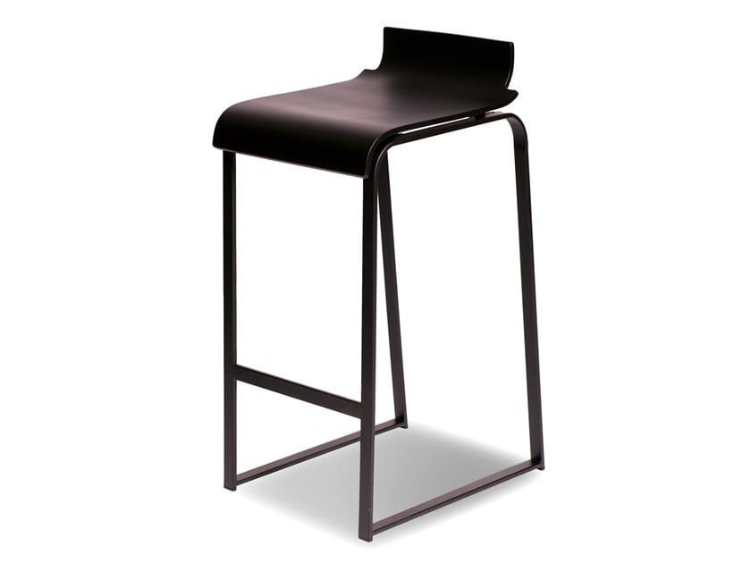 High sled base beech stool MANU 19 by Manganèse Éditions