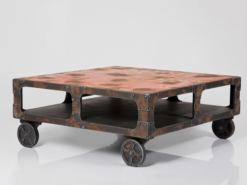 Square coffee table with casters MANUFAKTUR | Coffee table by KARE-DESIGN