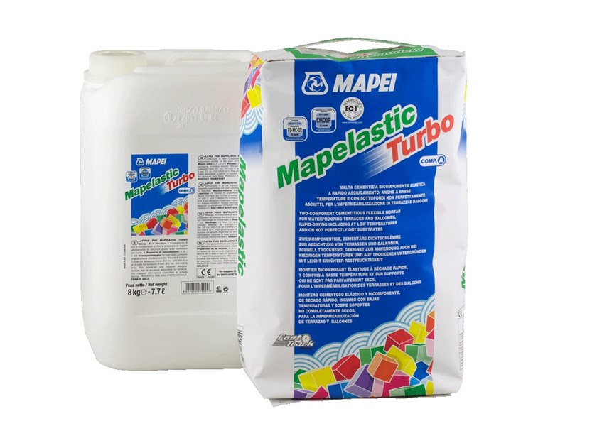 Cement-based waterproofing product MAPELASTIC TURBO by MAPEI