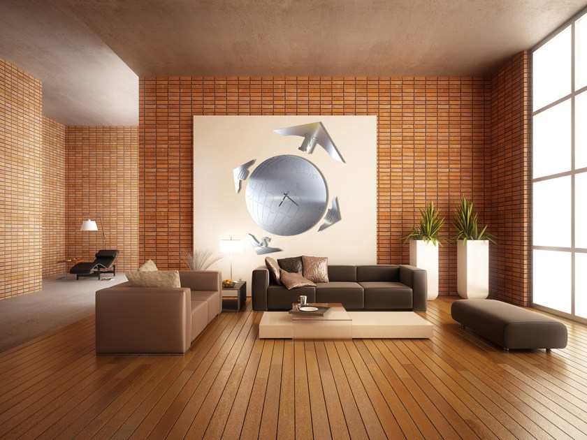 Wall-mounted stainless steel clock MAPPAMONDO M by Carluccio Design