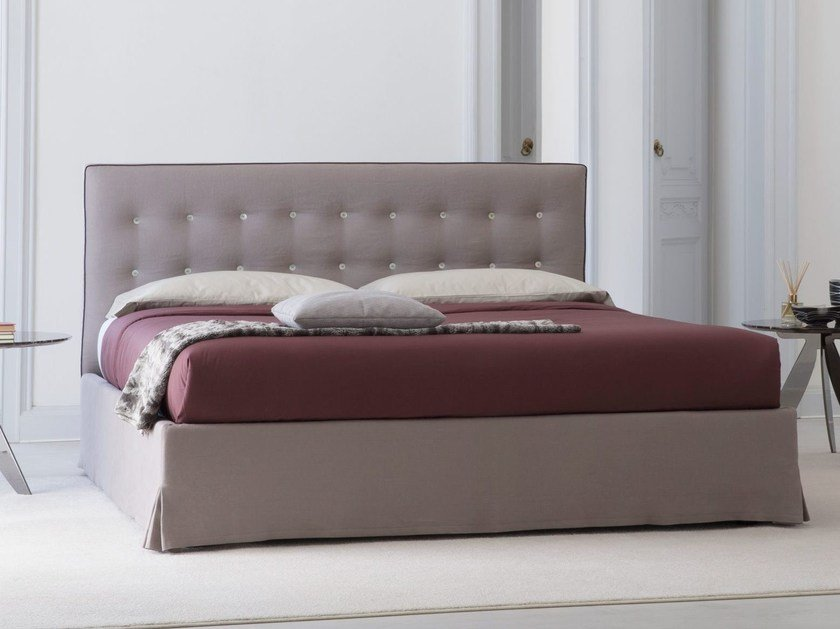 Fabric bed with tufted headboard MARAIS by BertO