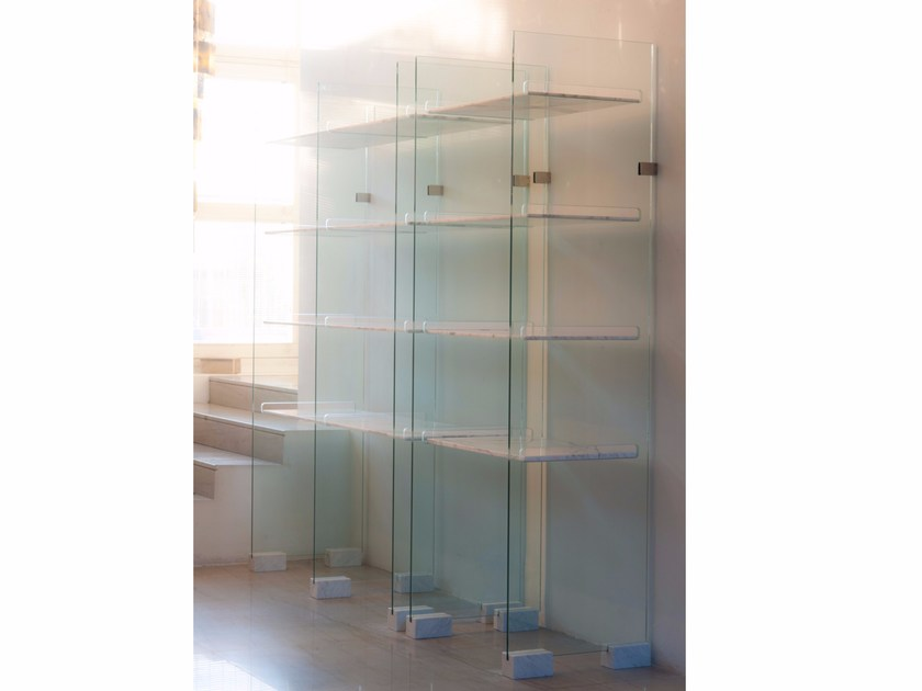Marble and crystal bookcase MARBLE by Placidia