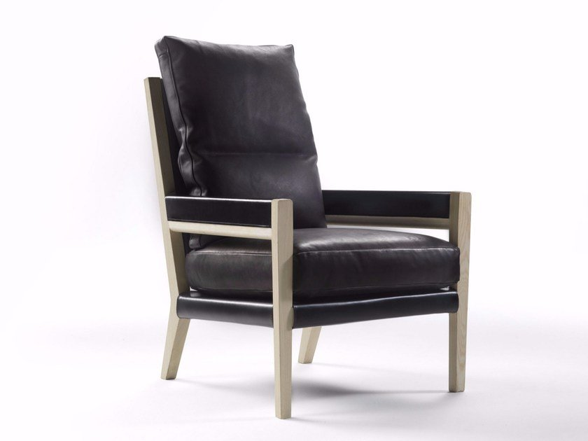 Upholstered tanned leather armchair with armrests MARGARET | Armchair by FLEXFORM