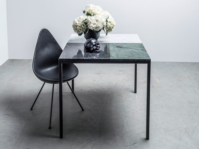 Square table made of three types of marble MARGARET by Hoom
