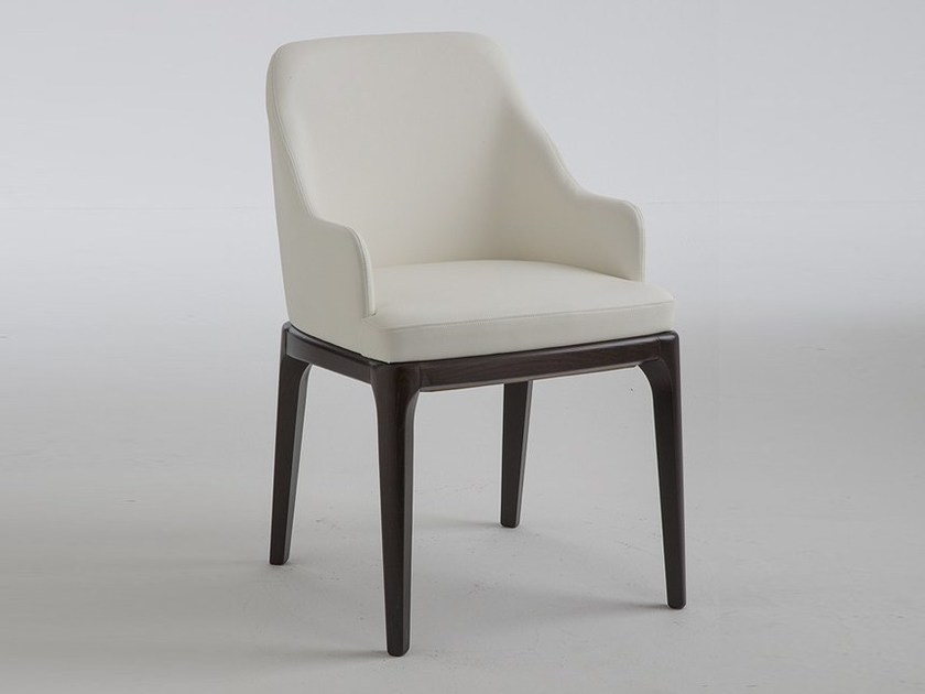 Leather chair with armrests MARGOT | Chair with armrests by RIFLESSI